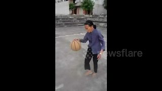 80-Year-Old Granny Shows Off Crazy Basketball Skills - Video