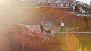 Couple Ties The Knot And Many Other Knots In Slackline Wedding High Above The Canyon