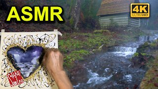 ASMR Waterfall Painting with Water and Bird Sound