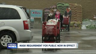 Shoppers complying with face mask requirements