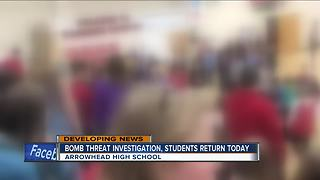 Bomb threat investigation continues at Arrowhead High School - Video