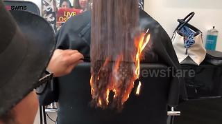 Stylist sets client's hair on fire - Video