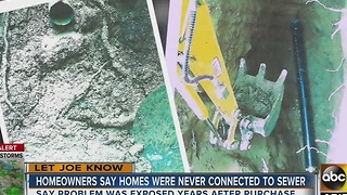 Homeowners say homes were never connected to a sewer - Video