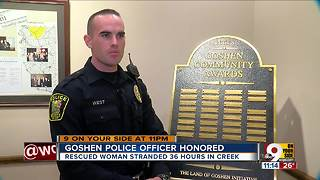 Goshen police officer honored for saving woman - Video