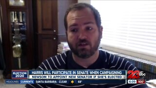 What happens to Harris's Senate seat now that she's running for VP?