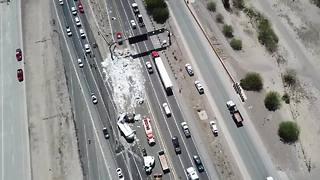 Tractor trailer with medical waste rolls on I-10 - Video