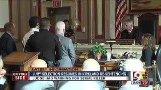 Jury selection resumes in Kirkland resentencing - Video