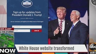 White House website transformed as President Trump takes office