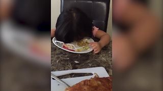 Adorable Girl Falls Asleep During Dinner Time - Video