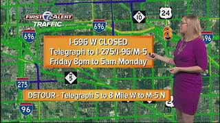WB I-696 closing from Telegraph to I-275 in Oakland Co. this weekend