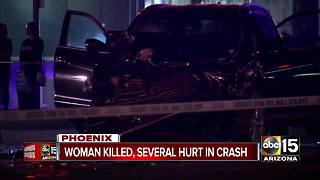 Woman killed, several hurt in west Phoenix crash - Video