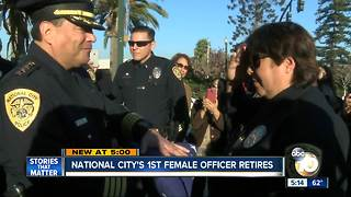 Surprising career change for National City's first female officer - Video