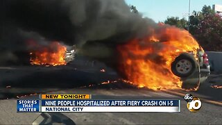 9 people taken to hospital after fiery crash in National City