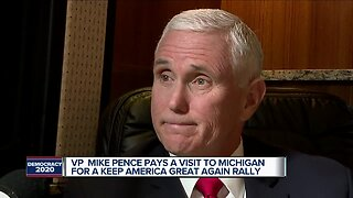 Vice President Pence arrives in Michigan for visit