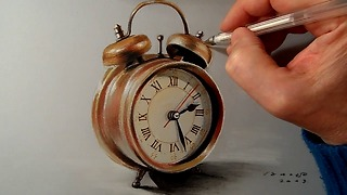How I draw a realistic alarm clock - Video
