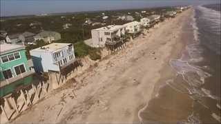 Aerial Footage Shows Extreme Erosion of Vilano Beach After Hurricane Matthew - Video