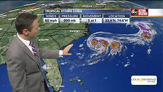 Tropical Storm Chris could become a hurricane off U.S. East Coast - Video