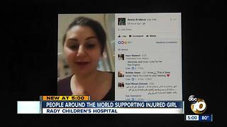 People around the world supporting injured girl - Video