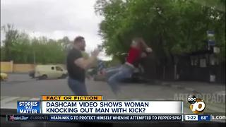 Woman knocks out man with kick?