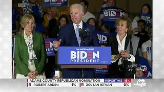 Joe Biden speaks after winning several states on Super Tuesday