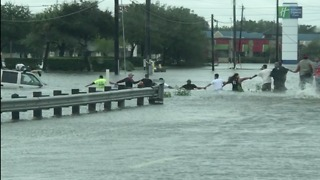 Houston Residents Form Human Chain to Save Man Trapped in SUV - Video
