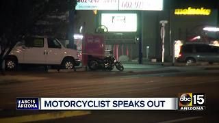 Motorcyclist who struck and killed pedestrian in Phoenix speaks out - Video
