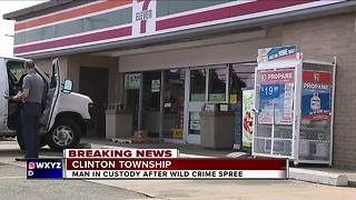 Man in custody after wild crime spree - Video