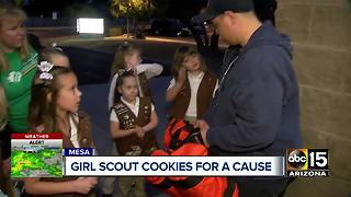 Girl Scouts use portion of cookie sales to donate fido bags to Mesa Fire Department - Video