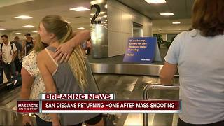 San Diegans who witnessed shooting return home - Video