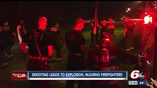 Shooting leads to explosion; firefighters injured - Video