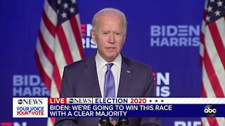 Joe Biden delivers unifying speech as race remains too close to call