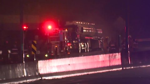 State Route 8 at Central Exchange in Akron closed after tanker carrying gasoline catches fire
