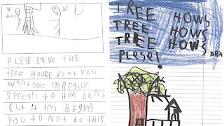 Theo's first-grade class wrote many letters to the city begging them to let the treehouse stay.