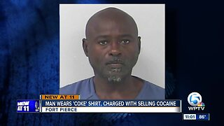 Man wearing 'Coke' shirt charged with selling cocaine