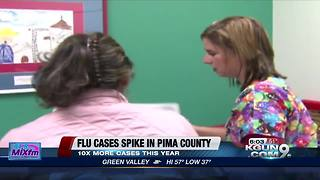 Flu cases spike in county - Video