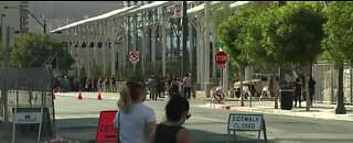 Protesters start to arrive at Las Vegas City Hall