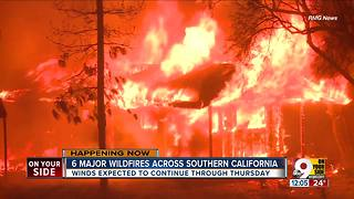 6 major wildfires across southern California