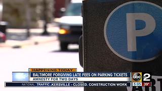 Baltimore City to forgive late fees for unpaid parking tickets
