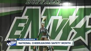 Talking cheerleading safety at Buffalo Envy - Video