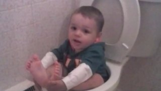 Toddler Boy Gets Stuck In Toilet Bowl - Video