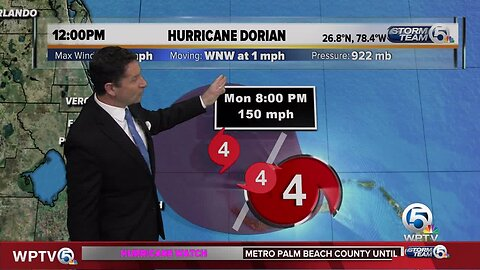 Noon update on powerful Cat 4 Dorian