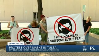 Protest over masks in Tulsa