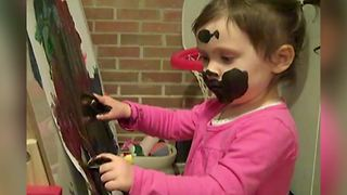 Hilarious Toddler Girl Uses Her Face To Paint A Picture - Video