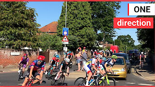 Hilarious moment hundreds of cyclists at HSBC National Championships take a wrong turn during a race