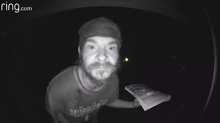 Ring Video of man licking doorbell and making odd gestures
