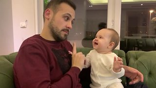 Baby Girl Thinks Her Daddy Is Just Hysterical - Video