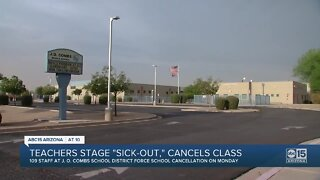 """Teachers, staff stage """"sick-out"""" in J.O. Combs School District"""