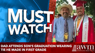 Dad attends son's graduation wearing tie he made in first grade - Video