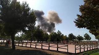 Aftermath of Eurofighter jet crash in Spain - Video