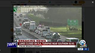 All Turnpike lanes closed near Lake Worth Rd., Southern Boulevard - Video